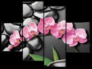 Орхидеи на чёрном фоне камни 126* 93 см