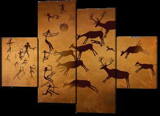 Наскальные рисунки охота 126* 93 см