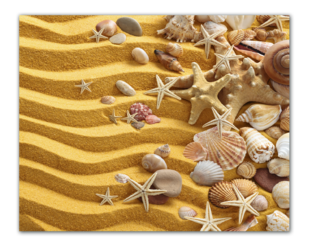 песок и ракушки, звёзды