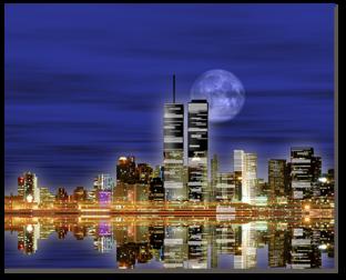 ночной город, луна