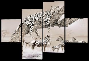 Леопард на ветках дерева 166* 114 см