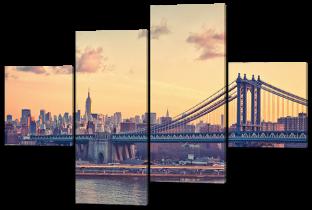 Мост, город, жёлтое небо 166* 114 см