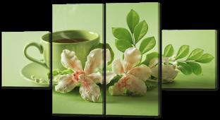 Чашечка чая и цветы 122* 64 см