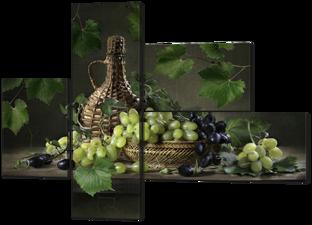 Натюрморт с виноградом и листьями 131* 96,5 см