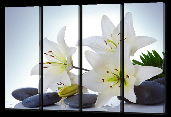 Белые лилии , камни 94 * 64см.