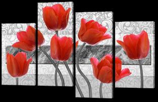Красные тюльпаны 126* 82,5 см
