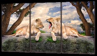 Два льва на камне