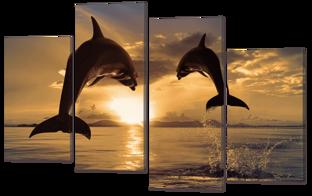 На искусственной коже. Дельфины 126* 80 см