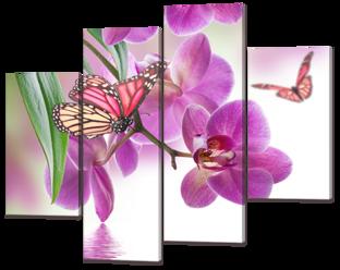 Орхидея и бабочки 126* 101 см