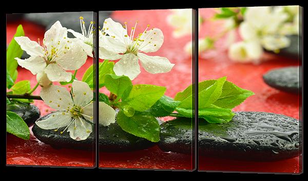 Ветка вишни на красном и камни 124* 70 см