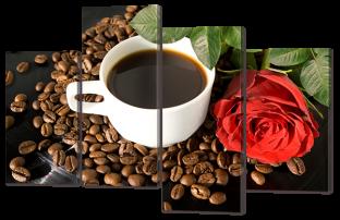 Кофе и красная роза 126* 82,5 см