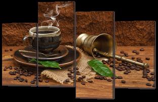 Кофе на коричневом фоне 126* 82,5 см