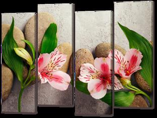 Композиция камни и цветы 94* 69 см