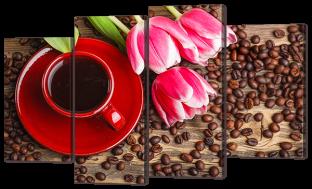 Кофе и тюльпаны 126* 80 см