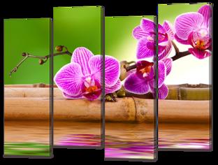 Композиция бамбук и цветы 94* 69 см