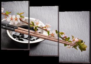 Сакура и палочки 124* 86 см