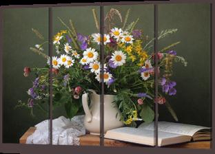 Натюрморт с цветами и книгой 94* 64 см
