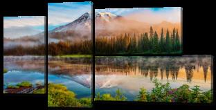 Отражение горы лес 137* 73 см