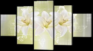 Три лилии и бабочки 140* 80 см