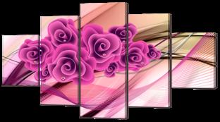 Розовые розы и жемчуг 140* 80 см
