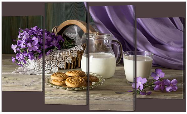 Натюрморт с молоком и печеньем 126* 76,5 см