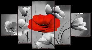 Красный мак на фоне серых 140* 75,5 см