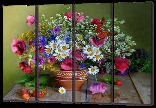 Натюрморт с цветами и клубникой 94* 64 см