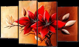Красные цветы 126* 80 см