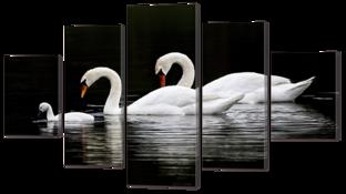 Белые лебеди на чёрном 140* 80 см
