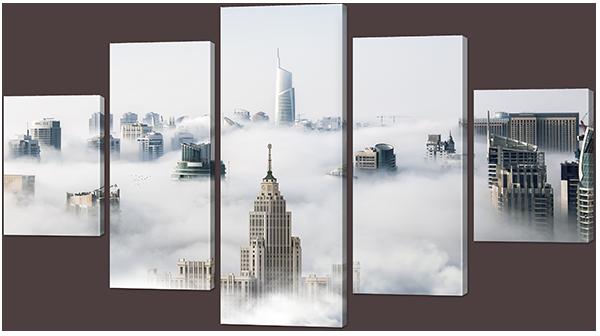 Туман и небоскрёбы 140* 80 см