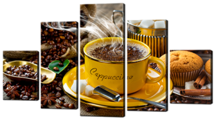Жёлтая чашка кофе 140* 80 см