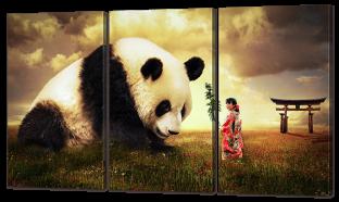 Панда и девочка