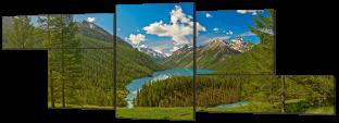 Лес и озеро в горах