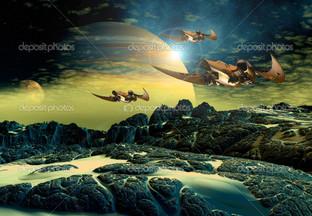 пришельцев планета корабли