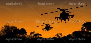 силуэты двух вертолётов