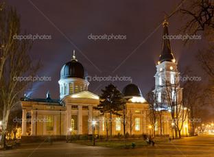 Одесса православный храм ночь