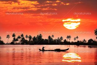 красный тропический закат