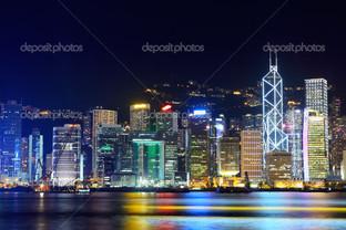 ночной Гонконг красивая панорама
