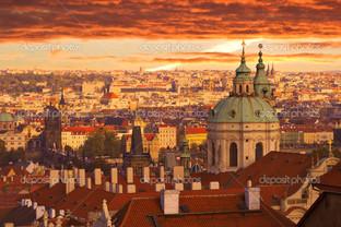 закат над Прагой