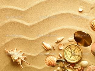 пляж песок фон компас