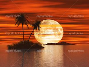 закат остров с пальмой