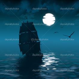 корабль ночь луна