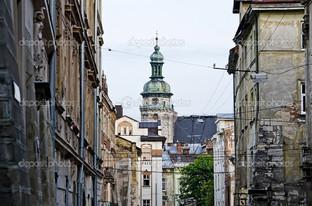 городской пейзаж в старом Львове