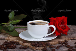красная роза и кофе