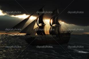 корабль в ночи