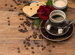 черный кофе и цветок