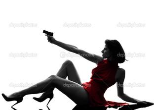 девушка пистолет силуэт
