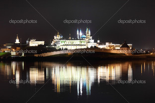 ночной вид на Казанский Кремль