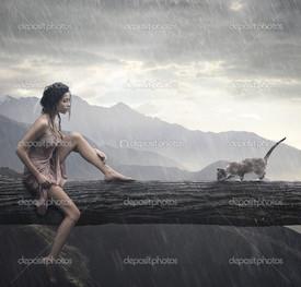 молодая женщина и кот