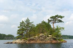 остров на озере деревья